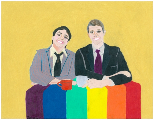 "Jason Fritz Michael, Falling in Love w/ Chris & Greg. 2009. 11""x14"". Colored Pencil."
